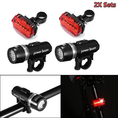 2x Sets 5 LED Lamp Bike Bicycle MTB Front Head Light + Rear Safety Flashlight