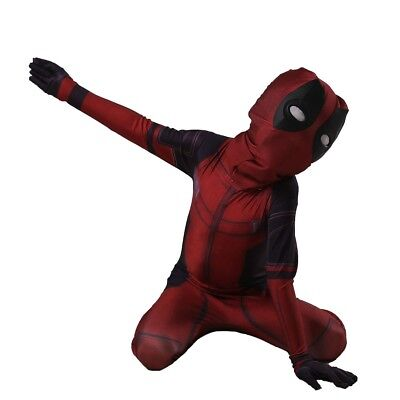 Kids Deadpool Costume Spandex Lycra Zentai Mask Bodysuit Halloween Cosplay Suit