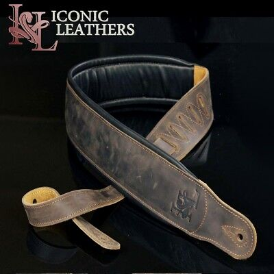 """Iconic 3.25"""" Extra Wide Dual Padded Leather Distressed Brown Guitar Bass Strap"""