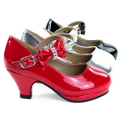 Dana62K Girl Kids Round Toe Mary Jane Dress Pump w Platform. Children Shoes