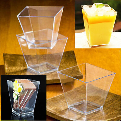 50 Mini Small Plastic Dessert Drink Fruit Shooters Jelly Cups Shot Glass Party ()