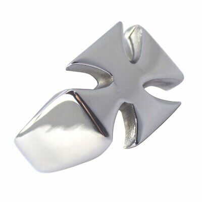 Mens Knights Templar Maltese Cross Ring Stainless Steel Band Sizes 9-14