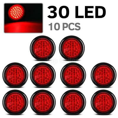 "4"" Inch Red 30 LED Round Stop/Turn/Tail Truck Light with Grommet & Wiring-Qty 10"
