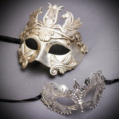 Luxury Silver Roman Greek & Laser Cut Party Couple Costume Masquerade Masks Set