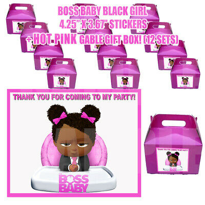 BABY GIRL BOSSY Party Favor Boxes Thank you Decals Jefa Loots Gable BLACK 12 Favor Gable Boxes