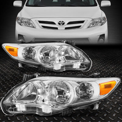 FOR 2011-2013 TOYOTA COROLLA PAIR CHROME HOUSING AMBER CORNER HEADLIGHT/LAMP SET