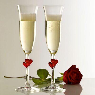 Personalizado Corazón Rojo Champán Copas Flauta Boda/Compromiso/ San Valentín