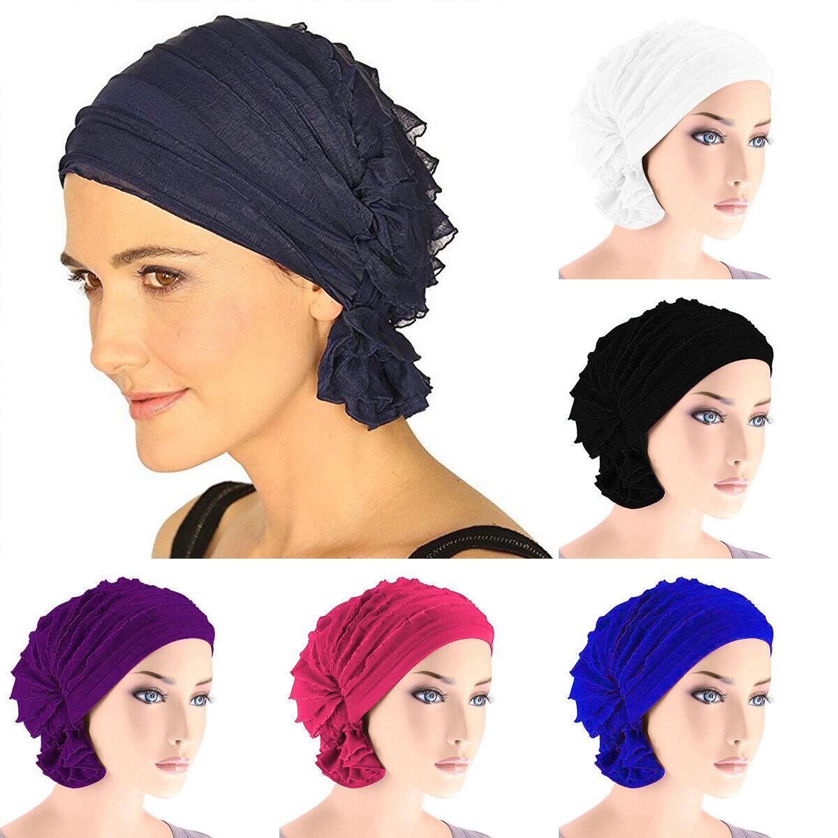 Women Hair Chiffon Headwear Turban Cap Flower Muslim Chemo H