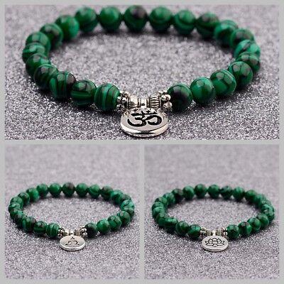 Fashion Men Women 8mm Natural Stone Malachite Strand Chakra Mala Bracelets Gift Malachite Strand Bracelet