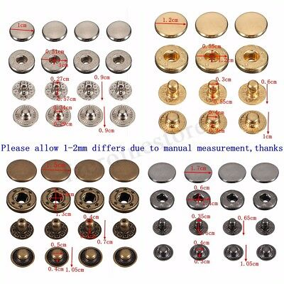 15/30 Sets Tolls Snap Fasteners Press Studs Poppers Sewing Buttons Leather Craft