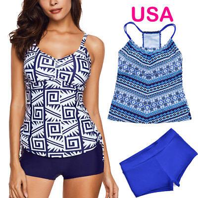 3#  Women Two Piece Tankini Set Plus Size Set  Swimsuit Push Up Sports Swimwear (Sport Two Piece Swimsuit)
