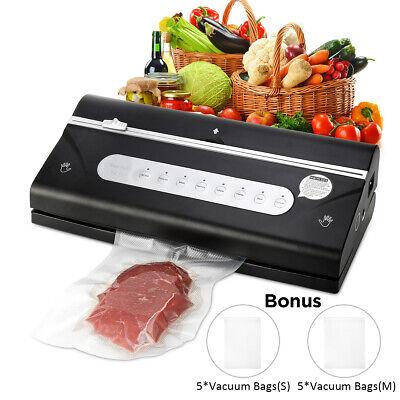 Food Vacuum Sealer Machine Robust Family Sized Sealer Black 10pcs Sealing Bags