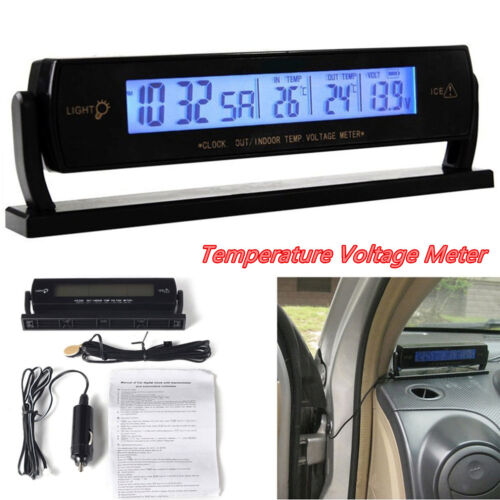12V Multifunction Car Temperature Voltage Clock Meter Digital LCD Monitor Gauge
