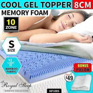 COOL GEL Memory Foam 10 Zone S Sized Topper BAMBOO Fabric Cover Fairfield Fairfield Area Preview