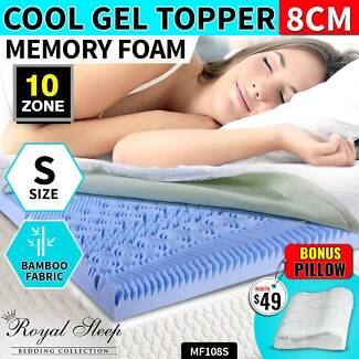 COOL GEL Memory Foam 10 Zone S Sized Topper BAMBOO Fabric Cover