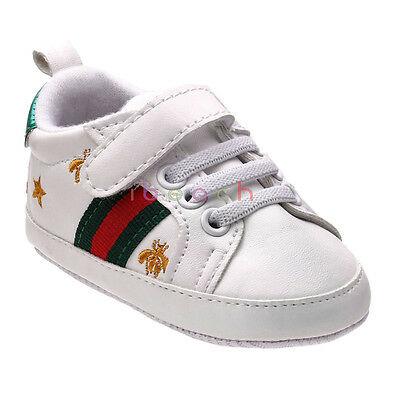 Infant Baby Boy Girl White Sneakers Soft Sole Crib Shoes Newborn to 12 (Infant Soft White Sneakers Shoes)