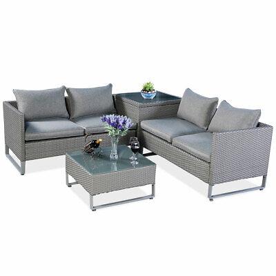 Garden Furniture - 4 pcs Patio Rattan Furniture Set Sofa Cushioned Seat Outdoor Garden