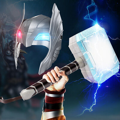 Halloween Cosplay Glowing Sounds Hammer LED Helmet For Thor Action Figures Kids - Halloween Activity For Kids