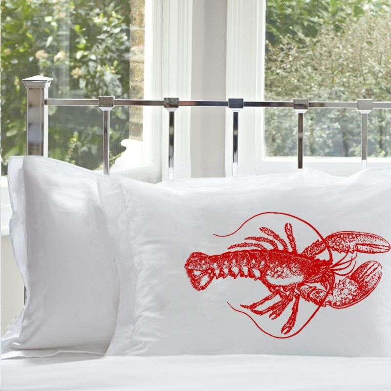 Two (2) NAUTICAL Red LOBSTER Unique ART PILLOWCASEs