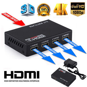 1X4 Full HD HDMI Splitter 4 Port Hub Repeater Amplifier v1.4 3D 1080p 1 in 4 out