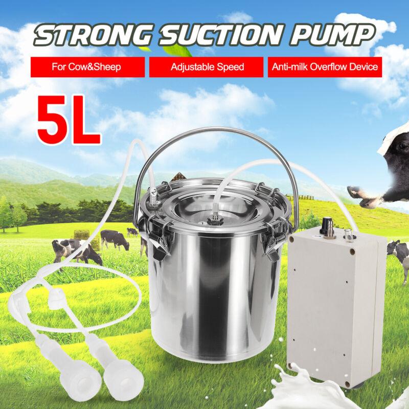 5L Electric Milking Machine Vacuum Pump Dairy Goat Milker Double Head Adjustable