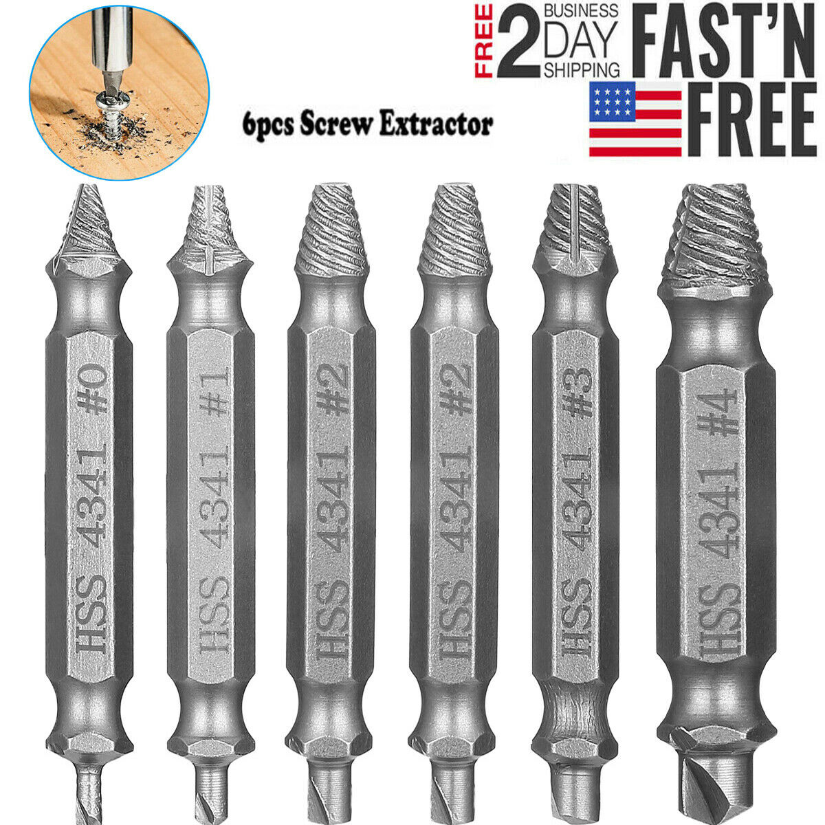 6Pcs Damaged Screw Extractor Speed Out Drill Bits Tool Set B