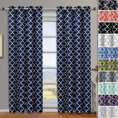 (Set of 2) Meridian Grommet Thermal Room Darkening Curtains Moroccan tile Design