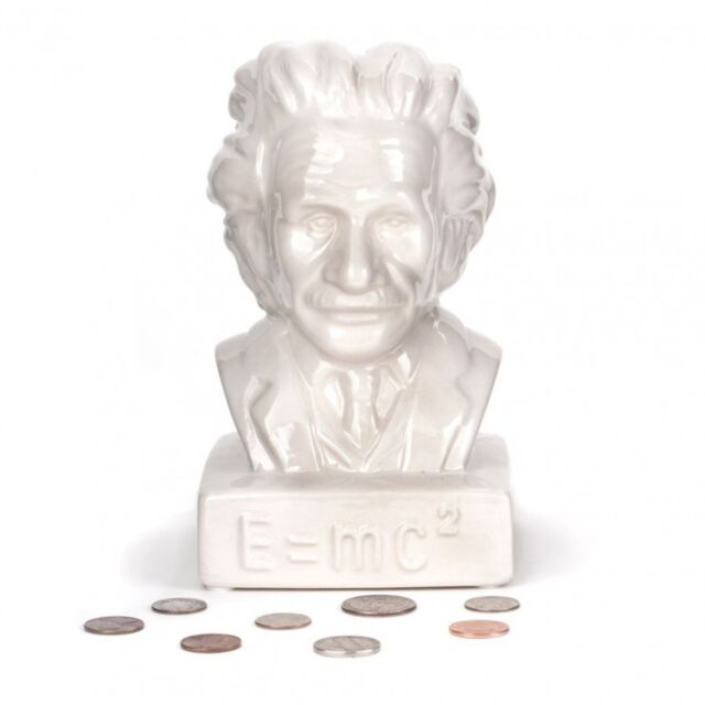 Kikkerland White Ceramic Albert Einstein Coin Bank Money Pot Saving Up Xmas Gift