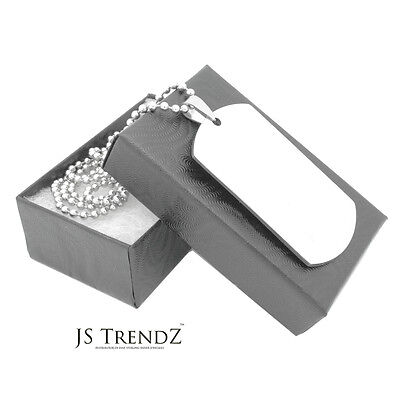 Stainless Steel Military Plain Dog Tag Pendant Necklace Free Bead Chain 2 (Plain Dog Tag Necklace)