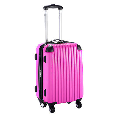 "GLOBALWAY 20"" Expandable ABS Carry On Luggage Travel Bag Trolley Suitcase Pink"