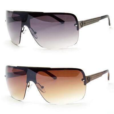 Shield Rimless Retro 80s Aviator Sunglasses Men Fashion Glasses Black Gold (Rimless Aviator Sunglasses)