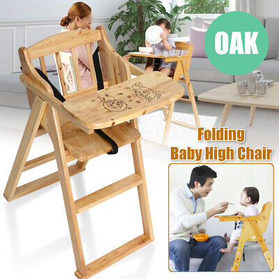 Oak High Chair - Oak Wood Baby High Chair Infant Toddler Feeding Booster Folding Safe Portabable