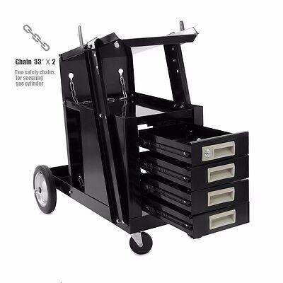 Universal Welding Cart W 4 Drawer Cabinet Mig Tig Arc Plasma Cutter Tank Storage