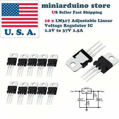 10pcs x LM317T LM317 Adjustable Linear Voltage Regulator IC 1.2V to 37V 1.5A