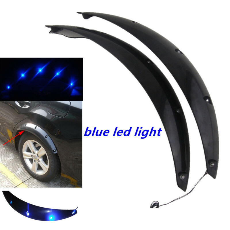 2×58cm Arch Fender Flares Black Eyebrow Protector Lip Wheel-Arch With Blue LED