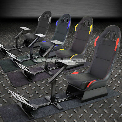 Cockpit Driving Simulator Racing Seat Gaming Chair W Gear Pedals Mount Kit