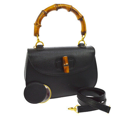 d11b879c6362 Authentic GUCCI Bamboo Line 2way Hand Bag Black Leather Italy Vintage  AK25433h