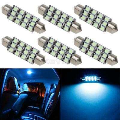 6pcs Ice Blue 12-SMD LED Lights 42mm 43mm Festoon Interior Dome Map Lamps 212-2