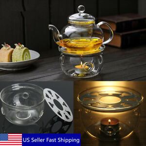 US Clear Glass Heat-Resisting Round Teapot Warmer Insulation Base Candle Holder