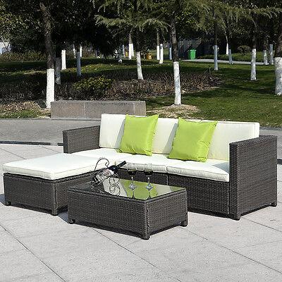 5PC Outdoor Patio Sofa Set Furniture PE Wicker Rattan Deck Couch Gradient Brown