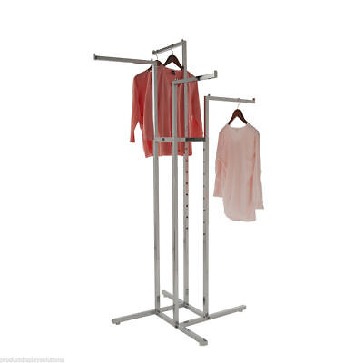 4 Way Clothing Display Rack With 4 Straight Arms 1 Square Chrome