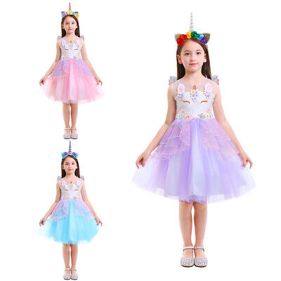 Girls Unicorn Tutu Dress Kids Cosplay Fairy Wings Costume Princess Party Outfit