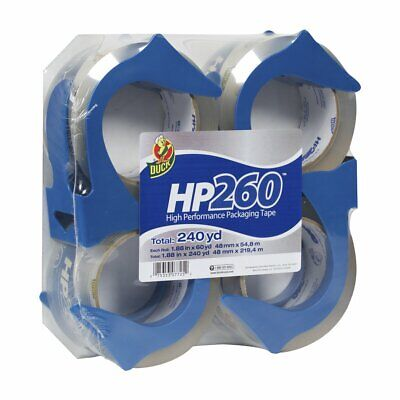 Duck Hp260 Packing Tape 4 Rolls With Dispensers 1.88 Inch X 60 Yard 847667