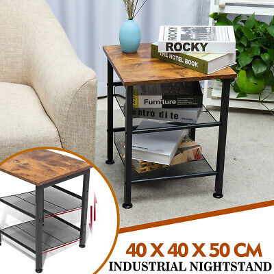 Industrial Sofa Side Accent End Table Urban Bedside Cabinet Livingroom Furniture