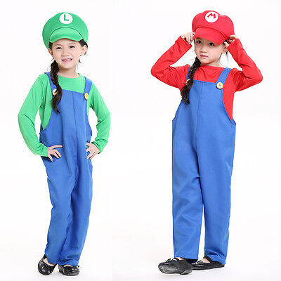 Super Mario and Luigi Bros/Brothers Costumes Kids Cosplay Halloween Fancy - Mario And Luigi Girl Halloween Costumes