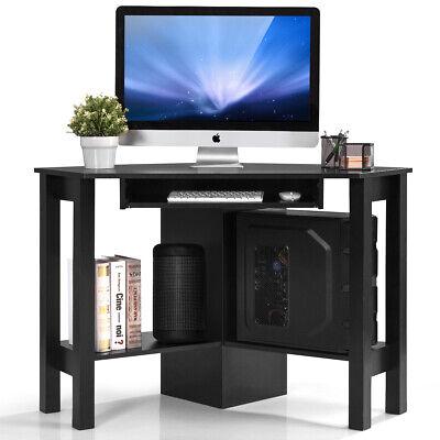 Costway Computerpc Table Wood Corner Desk Wdrawer Shelf Study Office Room Black