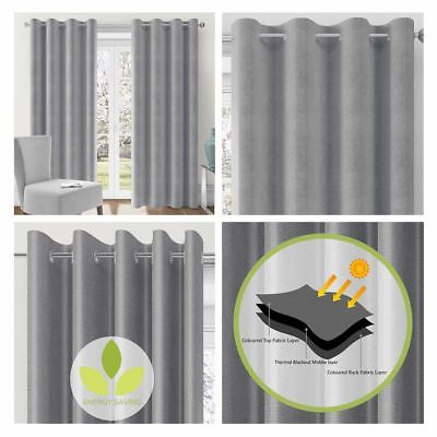 Grey Blockout Curtains Lismore Eyelet Thermal Block Out Ring Top Curtain Pairs