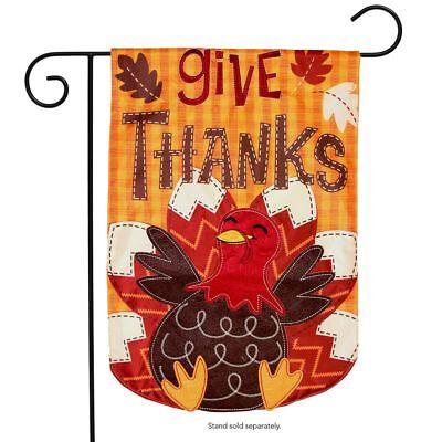"Turkey Thanksgiving Applique Garden Flag Holiday 12.5"" x 18"""