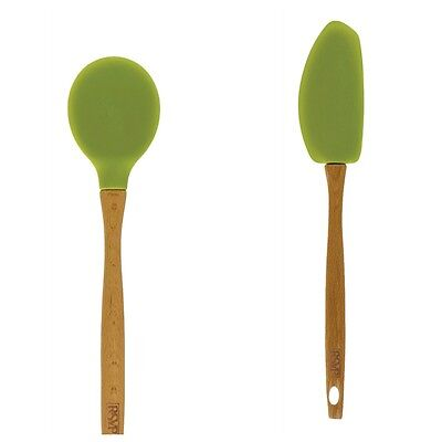 RSVP Long Spatula & Spoon 2 Set Green Silicone & Beechwood High Heat - High Heat Spoon Spatula