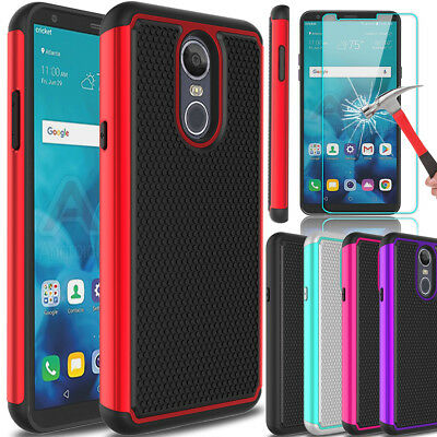 For LG Stylo 4 Shockproof Hybrid Hard Armor Phone Case + Glass Screen Protector ()